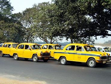 The famous yellow taxis of Kolkata