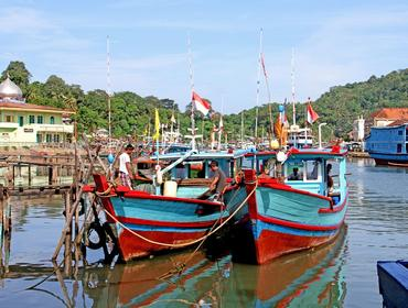 Boats on Muaro River, Padang