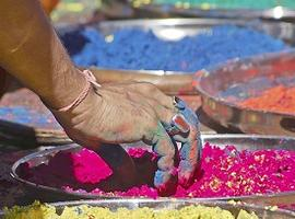 Picking colourful gulal powder for Holi