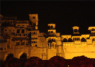 Exterior at night, Bundi Vilas