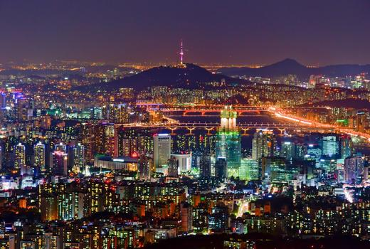 Nightime view of Seoul