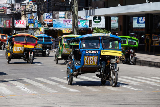 Tricycle motor taxis, Manila, the Philippines