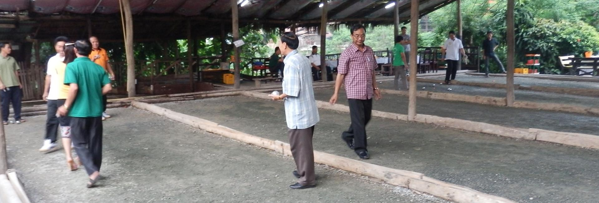 playing boules in laos