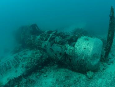 Wreck of WW2 aeroplane, PNG